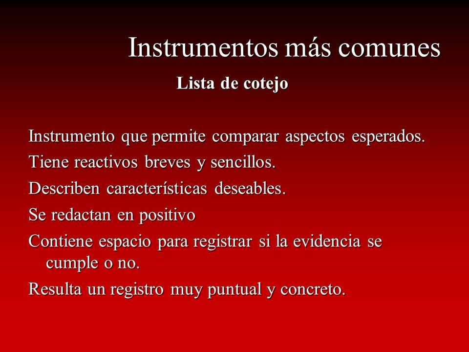 Instrumentos más comunes Lista de cotejo Instrumento que permite comparar aspectos esperados. Tiene reactivos breves y sencillos. Describen caracterís
