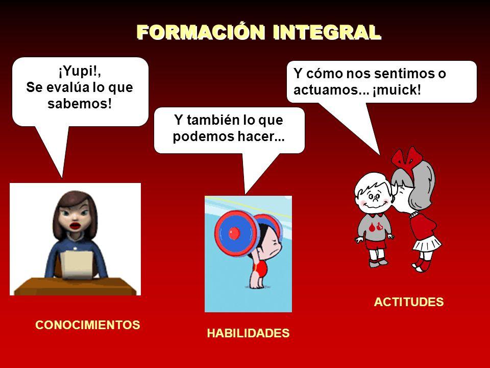 Declarativo EVALUACION DEL APRENDIZAJE Conocimiento Producto ActitudinalProcedimental Ejecutivo Operativo ConceptualFactual Participación en trabajo individual: -Exposiciones orales - diálogos.
