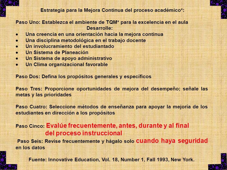 Estrategia para la Mejora Continua del proceso académico*: Paso Uno: Establezca el ambiente de TQM* para la excelencia en el aula Desarrolle: Una cree