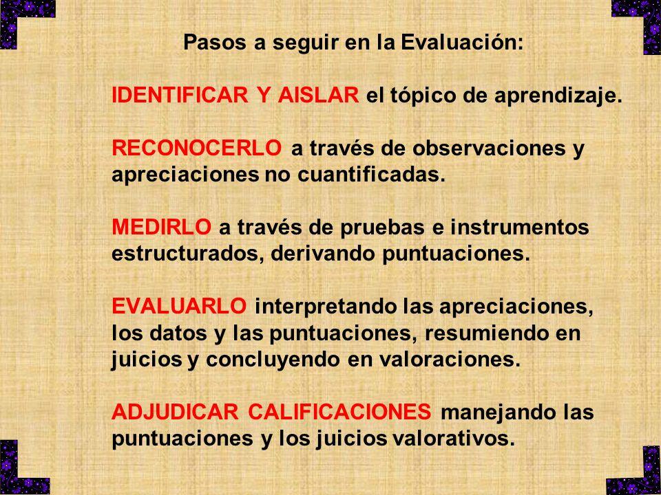 Pasos a seguir en la Evaluación: IDENTIFICAR Y AISLAR el tópico de aprendizaje. RECONOCERLO a través de observaciones y apreciaciones no cuantificadas