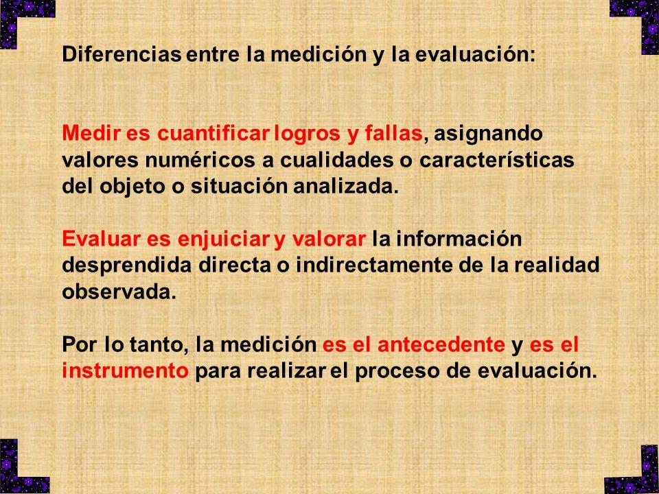 Diferencias entre la medición y la evaluación: Medir es cuantificar logros y fallas, asignando valores numéricos a cualidades o características del ob