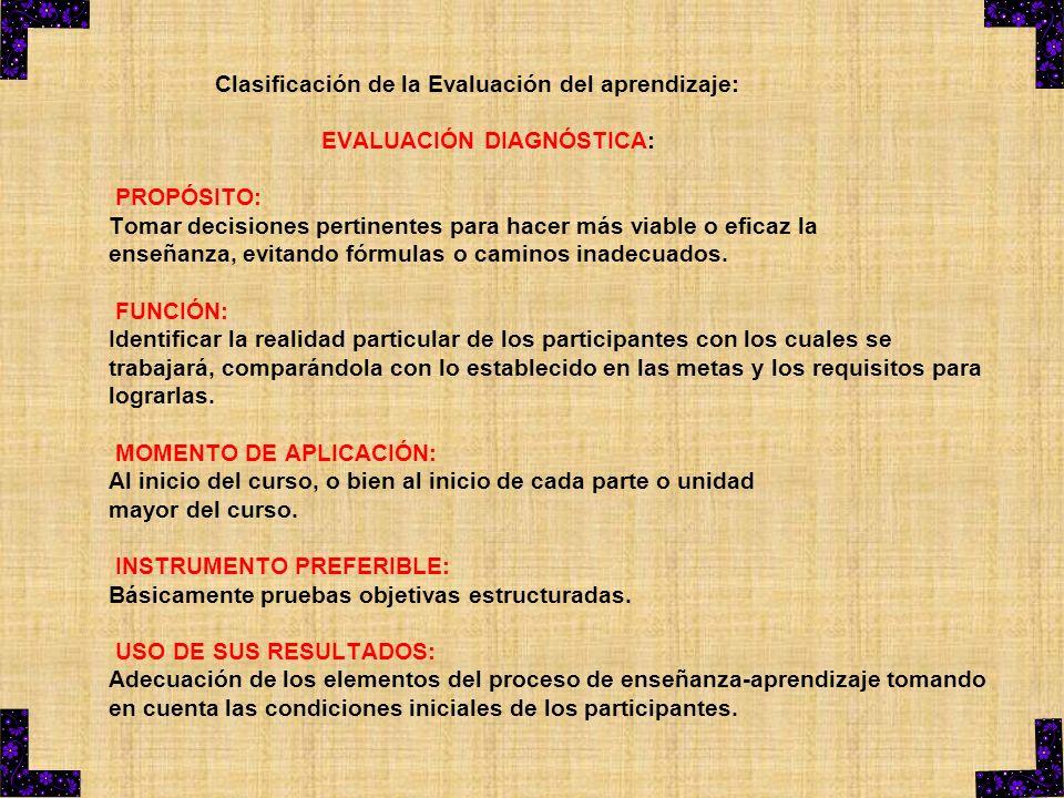 Clasificación de la Evaluación del aprendizaje: EVALUACIÓN DIAGNÓSTICA: PROPÓSITO: Tomar decisiones pertinentes para hacer más viable o eficaz la ense