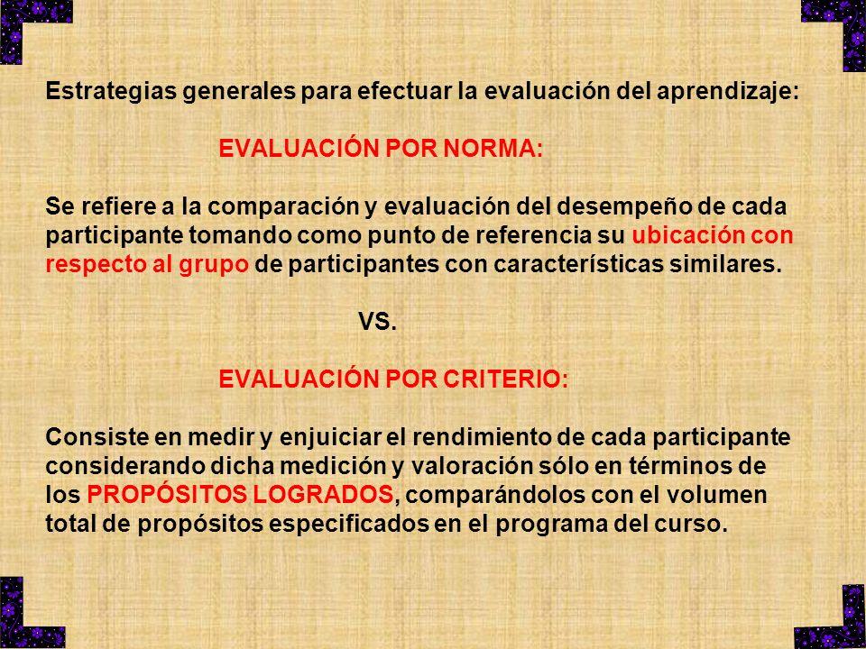 Estrategias generales para efectuar la evaluación del aprendizaje: EVALUACIÓN POR NORMA: Se refiere a la comparación y evaluación del desempeño de cad