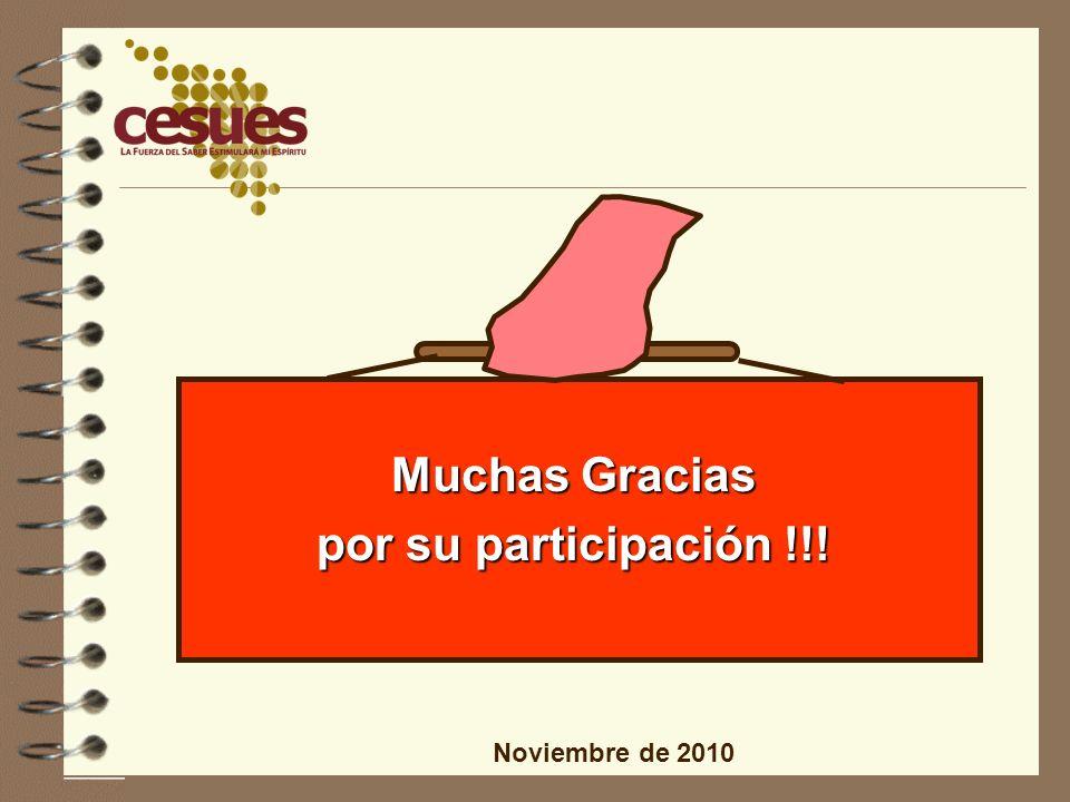Muchas Gracias por su participación !!! Noviembre de 2010