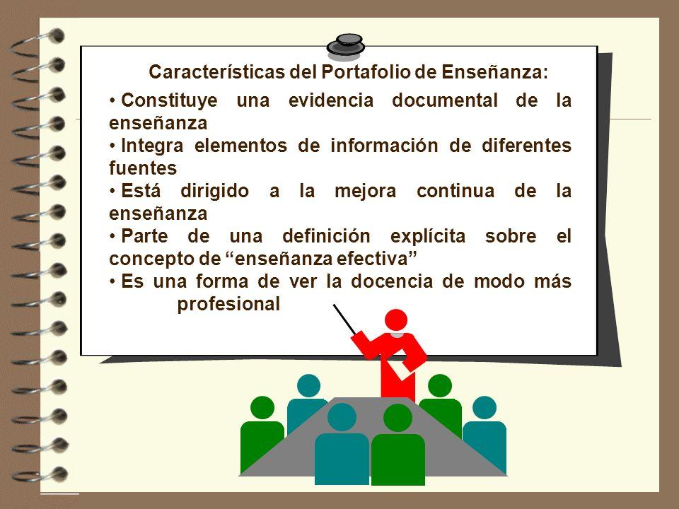 Características del Portafolio de Enseñanza: Constituye una evidencia documental de la enseñanza Integra elementos de información de diferentes fuente