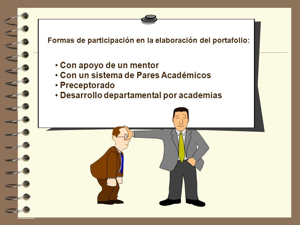 Formas de participación en la elaboración del portafolio: Con apoyo de un mentor Con un sistema de Pares Académicos Preceptorado Desarrollo departamen