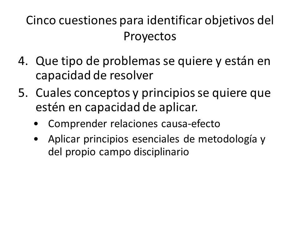 Cinco cuestiones para identificar objetivos del Proyectos 4.Que tipo de problemas se quiere y están en capacidad de resolver 5.Cuales conceptos y prin