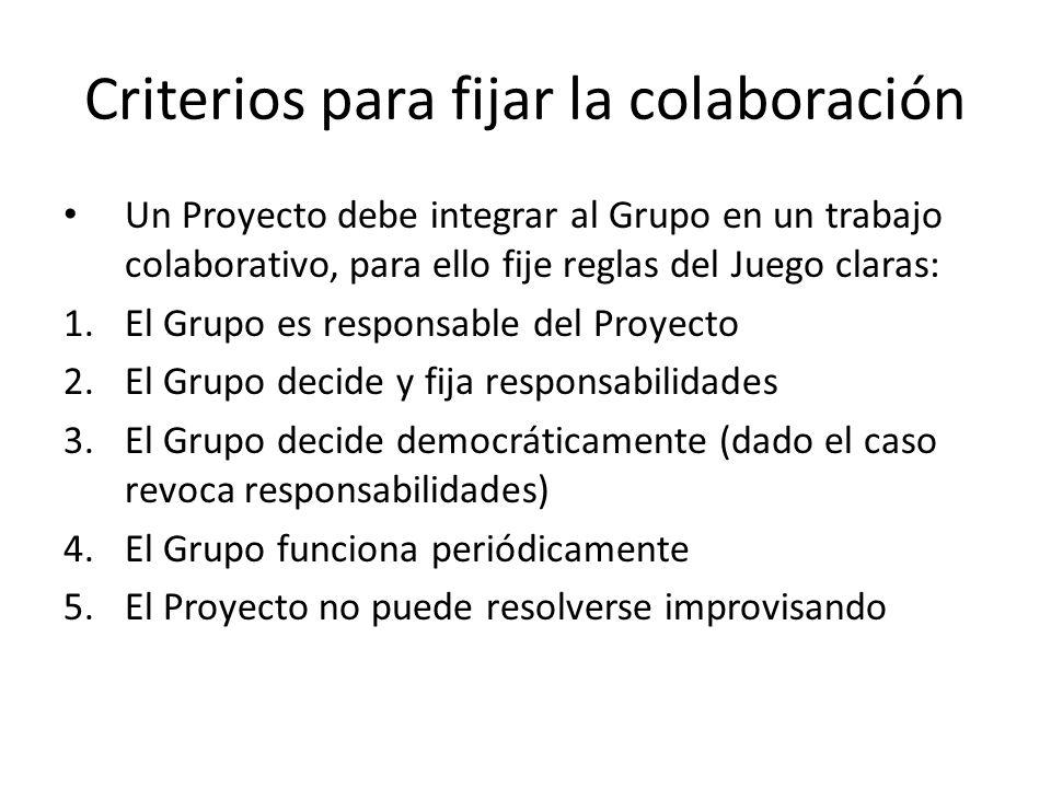 Criterios para fijar la colaboración Un Proyecto debe integrar al Grupo en un trabajo colaborativo, para ello fije reglas del Juego claras: 1.El Grupo