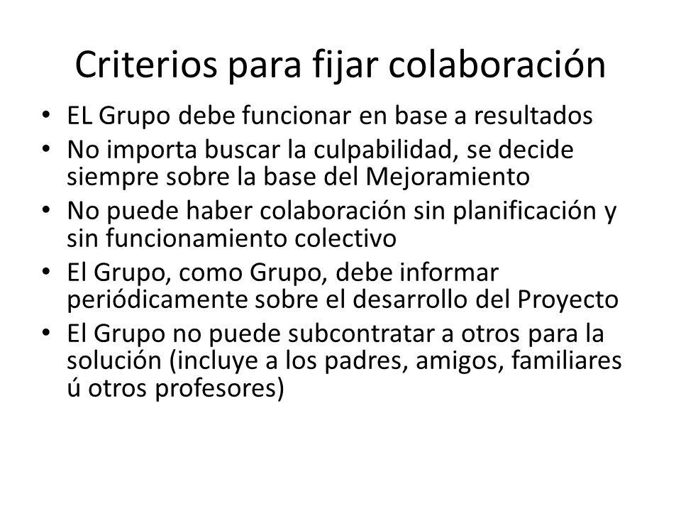 Criterios para fijar colaboración EL Grupo debe funcionar en base a resultados No importa buscar la culpabilidad, se decide siempre sobre la base del