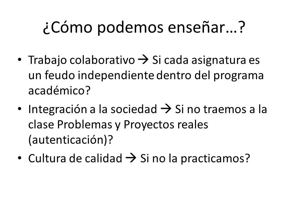 ¿Cómo podemos enseñar…? Trabajo colaborativo Si cada asignatura es un feudo independiente dentro del programa académico? Integración a la sociedad Si