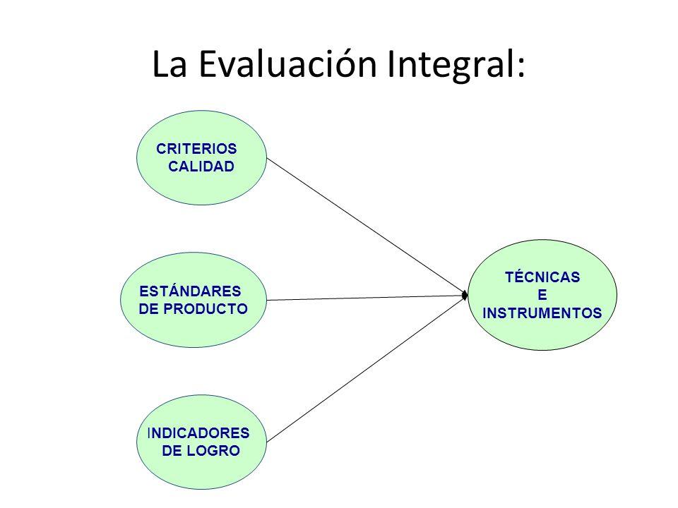 La Evaluación Integral: INDICADORES DE LOGRO CRITERIOS CALIDAD ESTÁNDARES DE PRODUCTO TÉCNICAS E INSTRUMENTOS