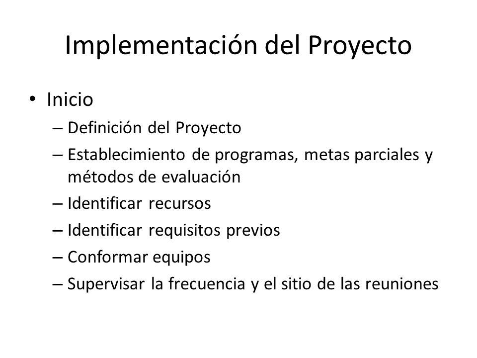 Implementación del Proyecto Inicio – Definición del Proyecto – Establecimiento de programas, metas parciales y métodos de evaluación – Identificar rec