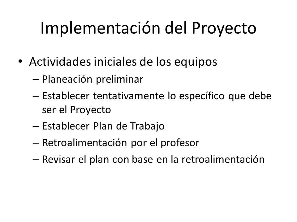 Implementación del Proyecto Actividades iniciales de los equipos – Planeación preliminar – Establecer tentativamente lo específico que debe ser el Pro