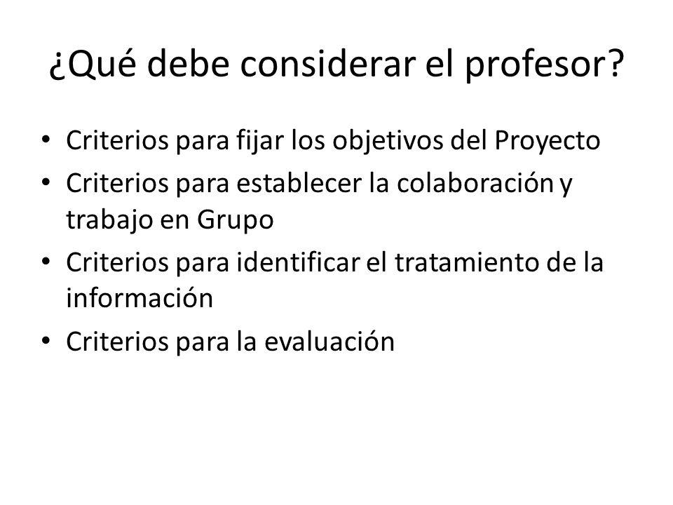 ¿Qué debe considerar el profesor? Criterios para fijar los objetivos del Proyecto Criterios para establecer la colaboración y trabajo en Grupo Criteri