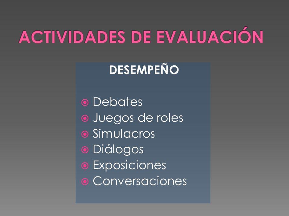 DESEMPEÑO Debates Juegos de roles Simulacros Diálogos Exposiciones Conversaciones