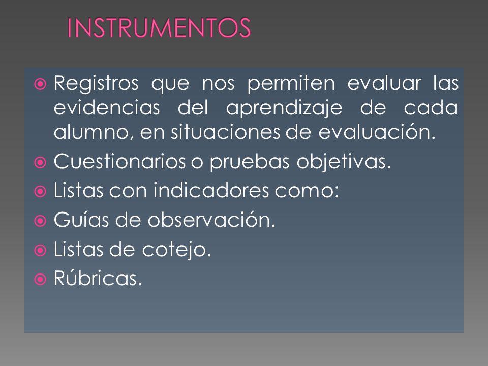 Registros que nos permiten evaluar las evidencias del aprendizaje de cada alumno, en situaciones de evaluación. Cuestionarios o pruebas objetivas. Lis