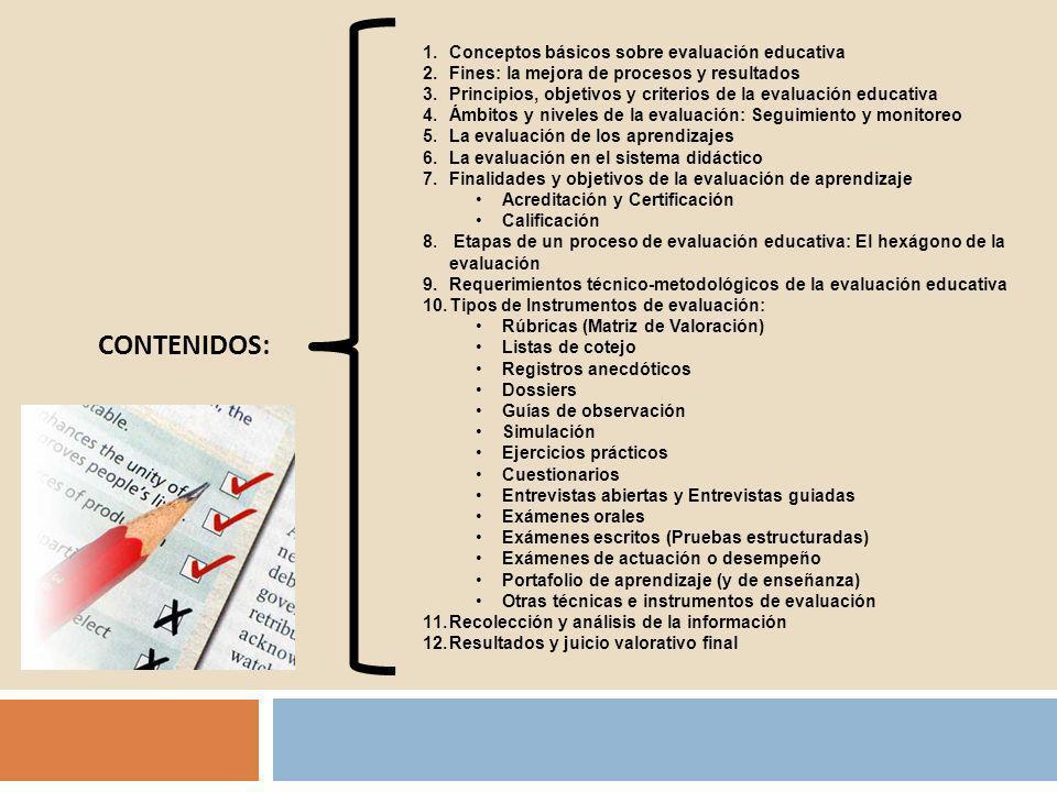 1.Conceptos básicos sobre evaluación educativa 2.Fines: la mejora de procesos y resultados 3.Principios, objetivos y criterios de la evaluación educat