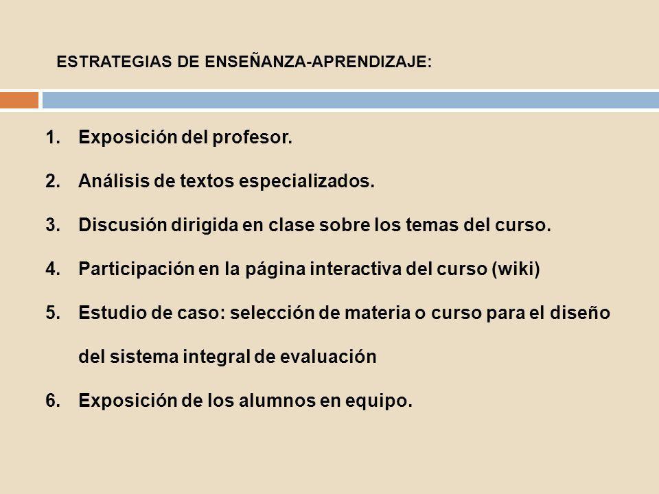 1.Exposición del profesor. 2.Análisis de textos especializados. 3.Discusión dirigida en clase sobre los temas del curso. 4.Participación en la página