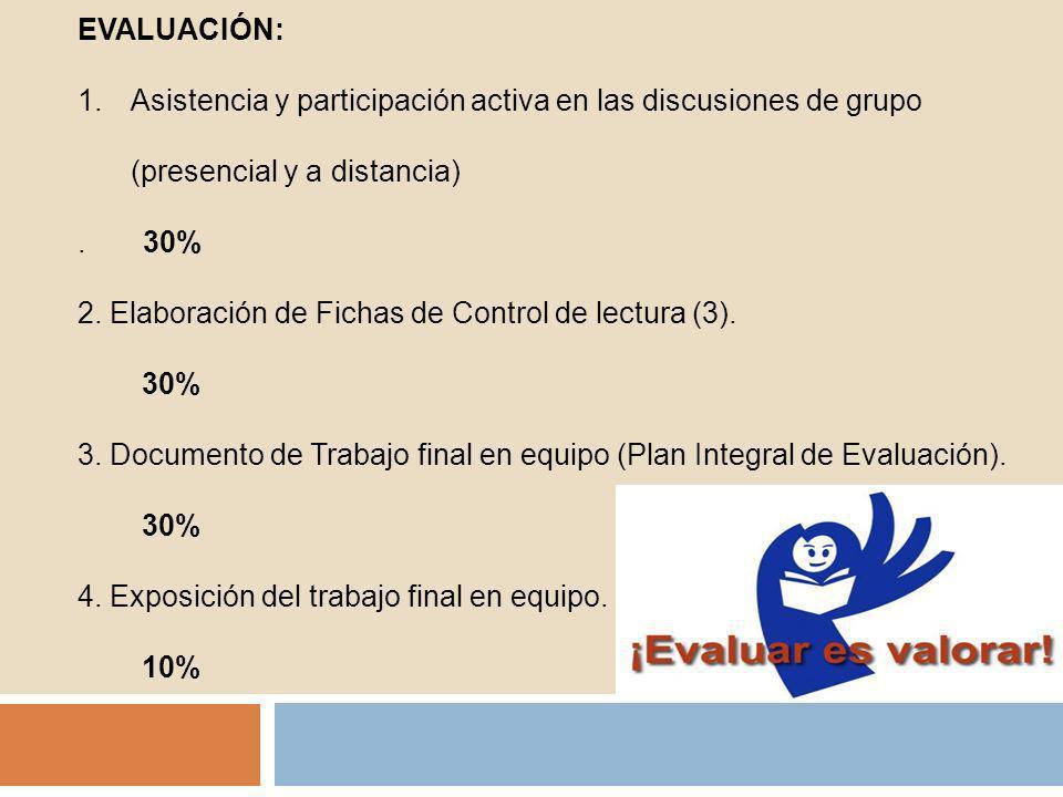 EVALUACIÓN: 1.Asistencia y participación activa en las discusiones de grupo (presencial y a distancia). 30% 2. Elaboración de Fichas de Control de lec