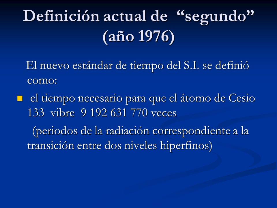 Definición actual de segundo (año 1976) El nuevo estándar de tiempo del S.I. se definió como: El nuevo estándar de tiempo del S.I. se definió como: el