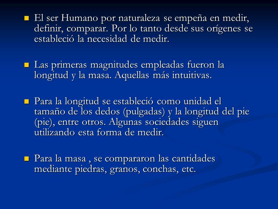 El ser Humano por naturaleza se empeña en medir, definir, comparar. Por lo tanto desde sus orígenes se estableció la necesidad de medir. El ser Humano
