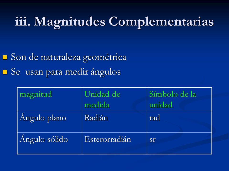 iii. Magnitudes Complementarias Son de naturaleza geométrica Son de naturaleza geométrica Se usan para medir ángulos Se usan para medir ángulos magnit