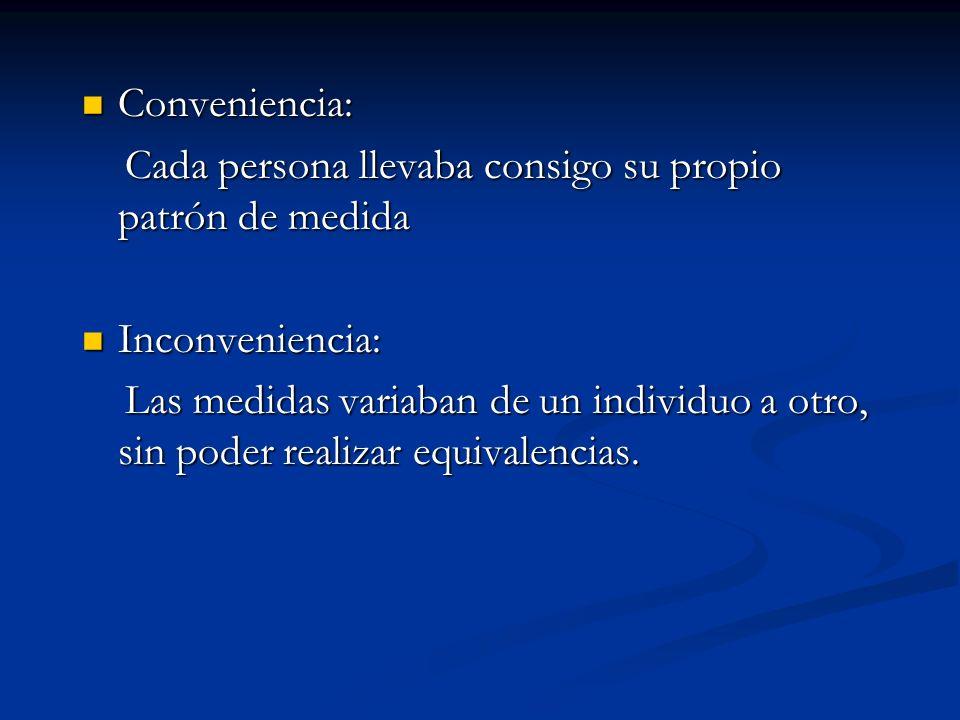Conveniencia: Conveniencia: Cada persona llevaba consigo su propio patrón de medida Cada persona llevaba consigo su propio patrón de medida Inconvenie
