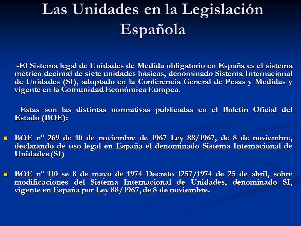 Las Unidades en la Legislación Española -El Sistema legal de Unidades de Medida obligatorio en España es el sistema métrico decimal de siete unidades