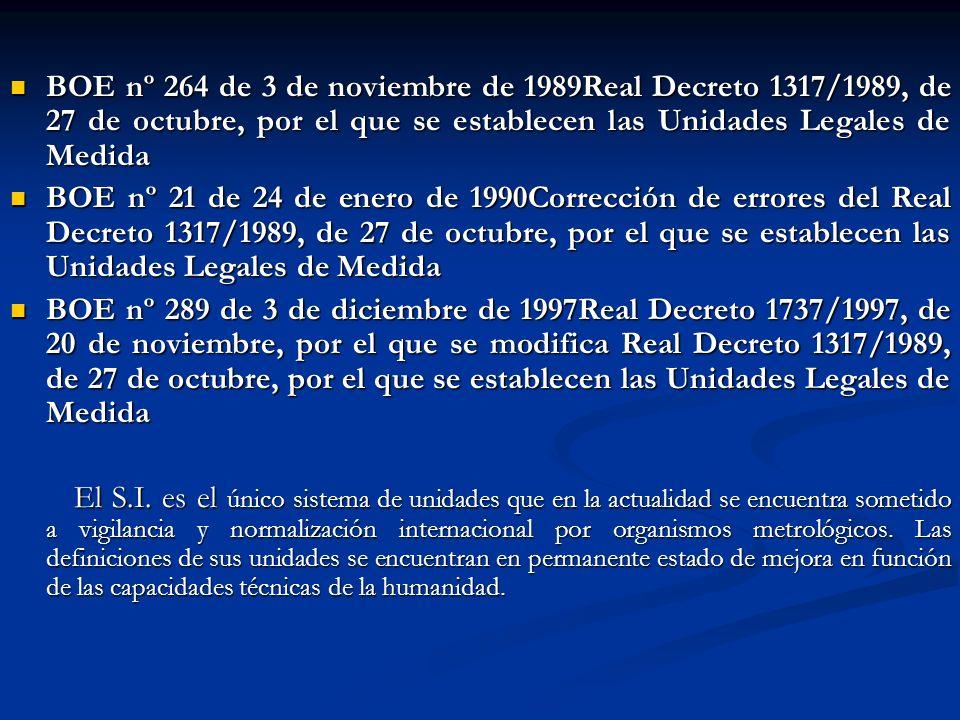 BOE nº 264 de 3 de noviembre de 1989Real Decreto 1317/1989, de 27 de octubre, por el que se establecen las Unidades Legales de Medida BOE nº 264 de 3
