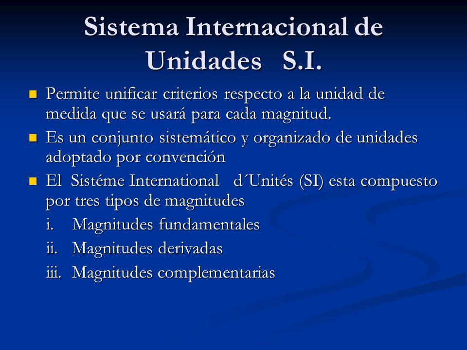 Sistema Internacional de Unidades S.I. Permite unificar criterios respecto a la unidad de medida que se usará para cada magnitud. Permite unificar cri