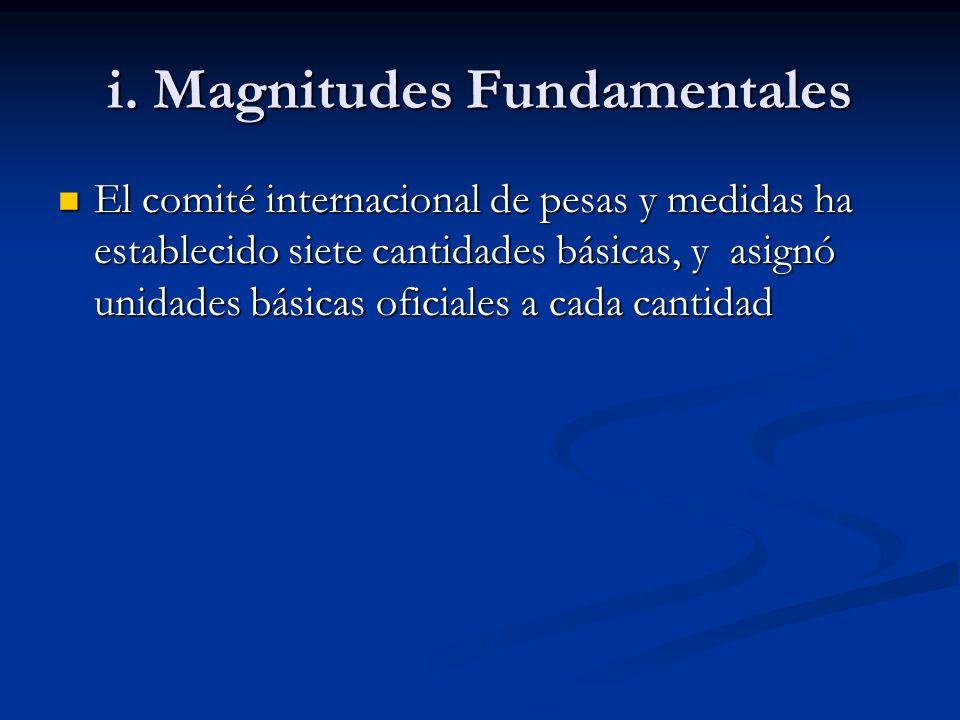 i. Magnitudes Fundamentales El comité internacional de pesas y medidas ha establecido siete cantidades básicas, y asignó unidades básicas oficiales a