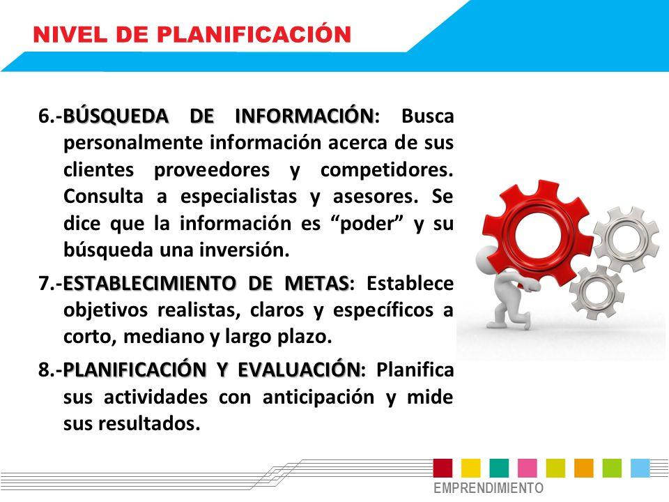 EMPRENDIMIENTO NIVEL DE PLANIFICACIÓN BÚSQUEDA DE INFORMACIÓN 6.-BÚSQUEDA DE INFORMACIÓN: Busca personalmente información acerca de sus clientes proveedores y competidores.