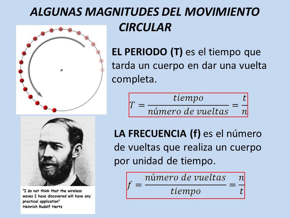 ALGUNAS MAGNITUDES DEL MOVIMIENTO CIRCULAR EL PERIODO (T) es el tiempo que tarda un cuerpo en dar una vuelta completa. LA FRECUENCIA (f) es el número