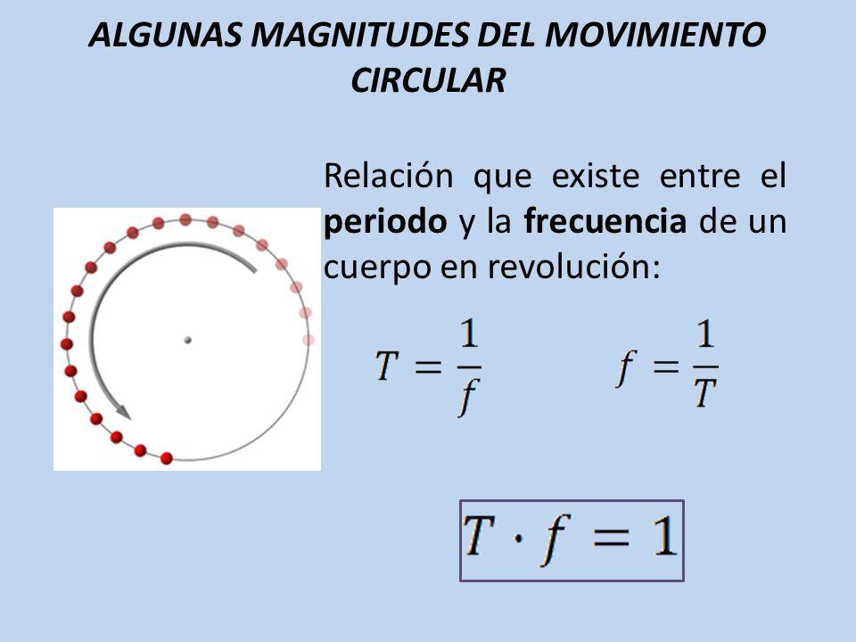 ALGUNAS MAGNITUDES DEL MOVIMIENTO CIRCULAR Relación que existe entre el periodo y la frecuencia de un cuerpo en revolución: