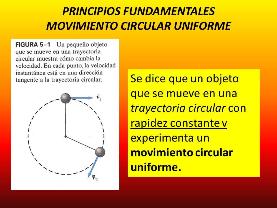PRINCIPIOS FUNDAMENTALES MOVIMIENTO CIRCULAR UNIFORME Se dice que un objeto que se mueve en una trayectoria circular con rapidez constante v experimen
