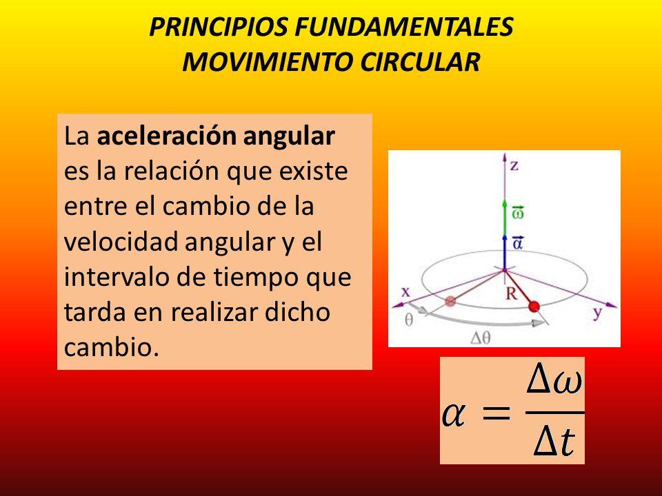PRINCIPIOS FUNDAMENTALES MOVIMIENTO CIRCULAR La aceleración angular es la relación que existe entre el cambio de la velocidad angular y el intervalo d