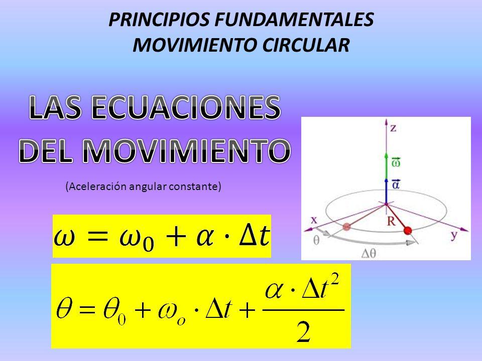 PRINCIPIOS FUNDAMENTALES MOVIMIENTO CIRCULAR (Aceleración angular constante)