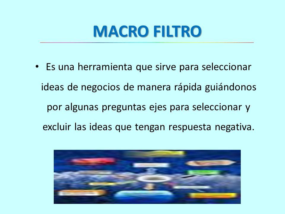 MACRO FILTRO Es una herramienta que sirve para seleccionar ideas de negocios de manera rápida guiándonos por algunas preguntas ejes para seleccionar y