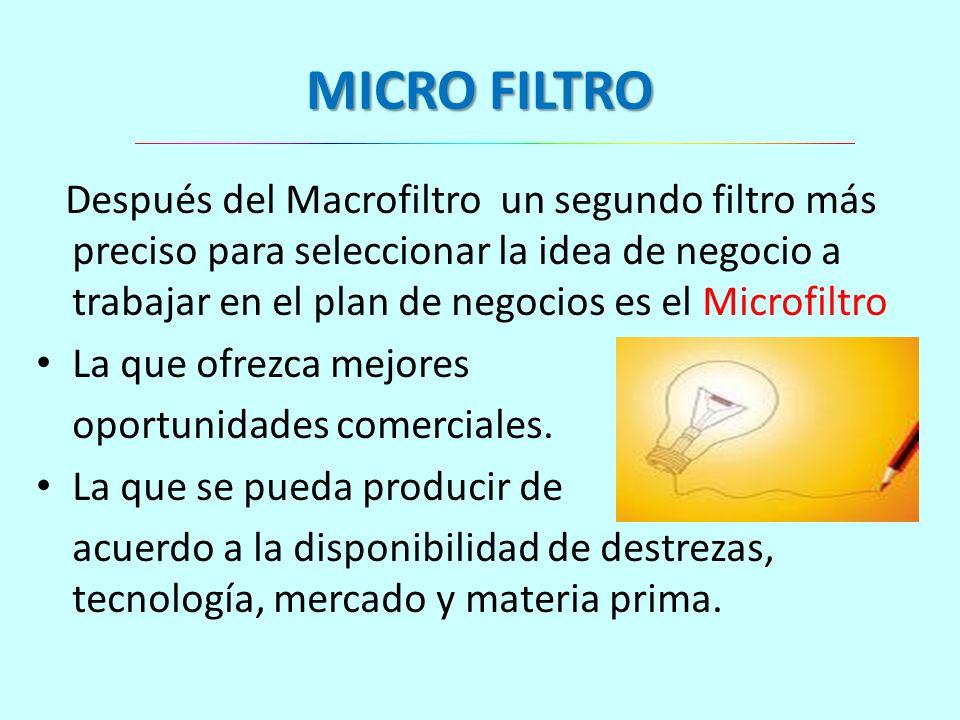 MICRO FILTRO Después del Macrofiltro un segundo filtro más preciso para seleccionar la idea de negocio a trabajar en el plan de negocios es el Microfi