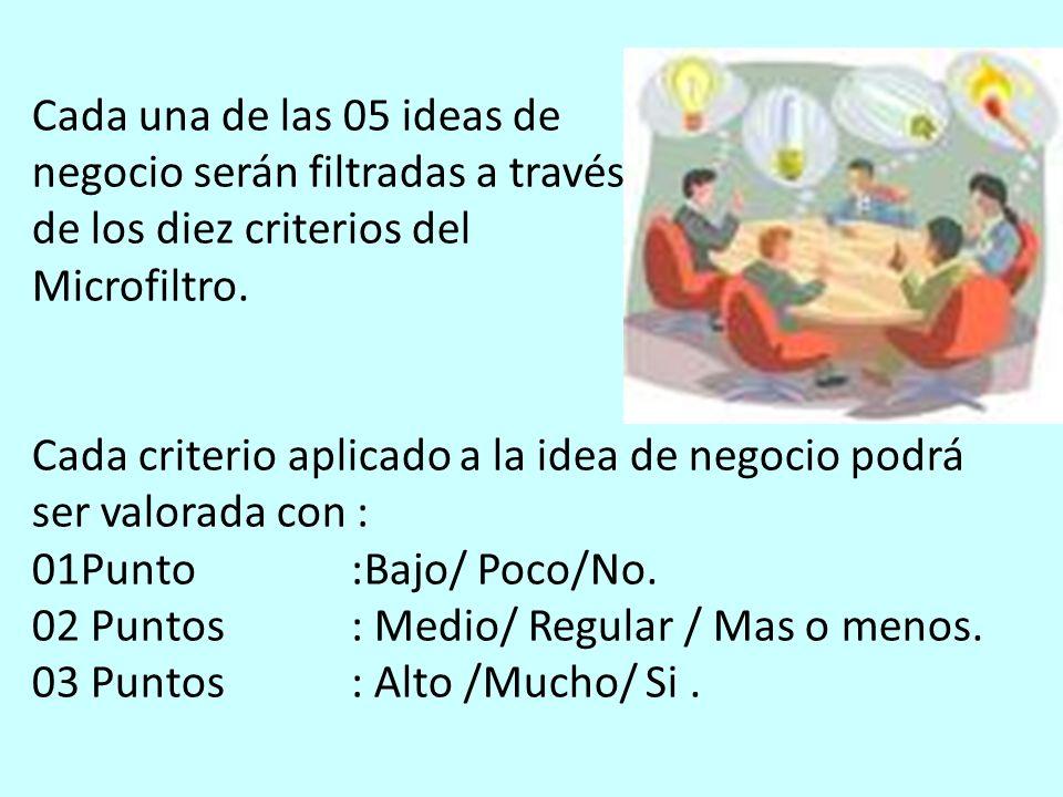 Cada una de las 05 ideas de negocio serán filtradas a través de los diez criterios del Microfiltro. Cada criterio aplicado a la idea de negocio podrá