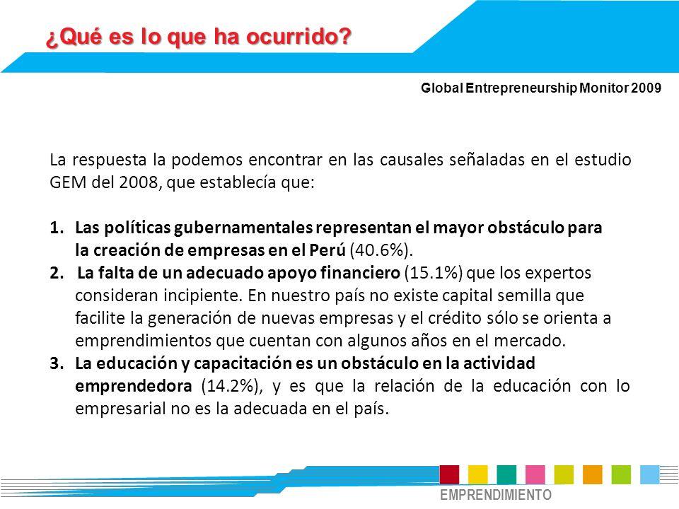 ¿Qué es lo que ha ocurrido? Global Entrepreneurship Monitor 2009 La respuesta la podemos encontrar en las causales señaladas en el estudio GEM del 200