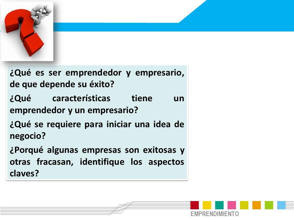 EMPRENDIMIENTO ¿Qué es ser emprendedor y empresario, de que depende su éxito? ¿Qué características tiene un emprendedor y un empresario? ¿Qué se requi