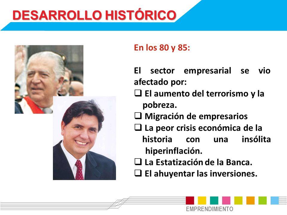 EMPRENDIMIENTO DESARROLLO HISTÓRICO En los 80 y 85: El sector empresarial se vio afectado por: El aumento del terrorismo y la pobreza. Migración de em