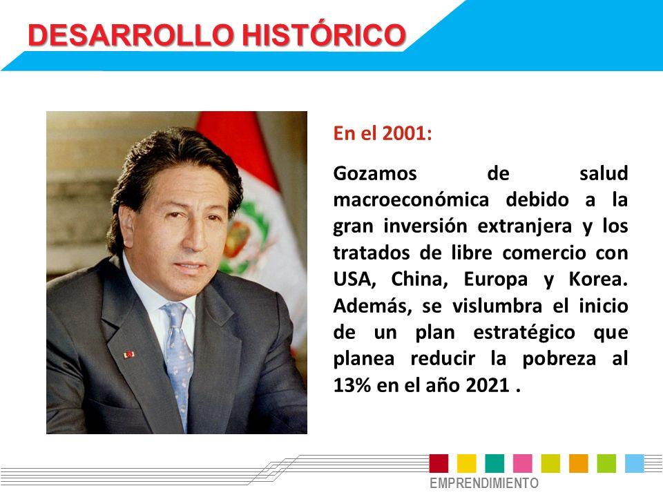 EMPRENDIMIENTO DESARROLLO HISTÓRICO En el 2001: Gozamos de salud macroeconómica debido a la gran inversión extranjera y los tratados de libre comercio