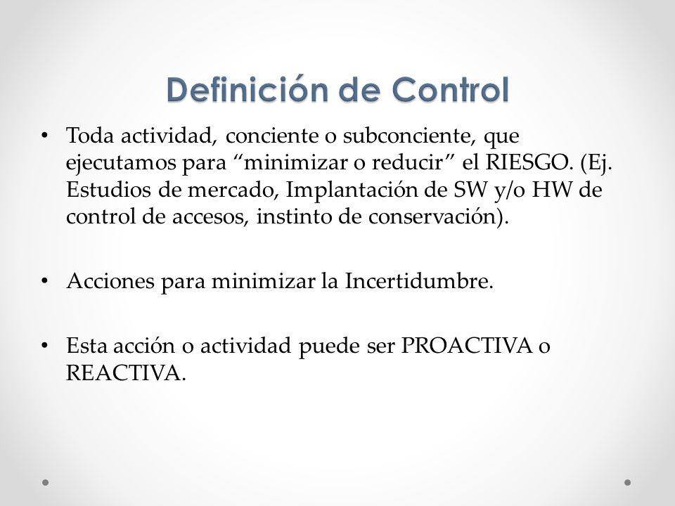 Toda actividad, conciente o subconciente, que ejecutamos para minimizar o reducir el RIESGO. (Ej. Estudios de mercado, Implantación de SW y/o HW de co