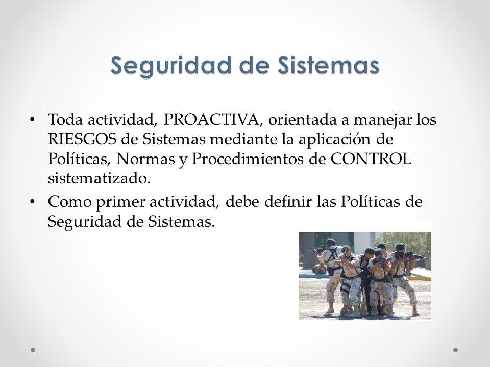 Toda actividad, PROACTIVA, orientada a manejar los RIESGOS de Sistemas mediante la aplicación de Políticas, Normas y Procedimientos de CONTROL sistema