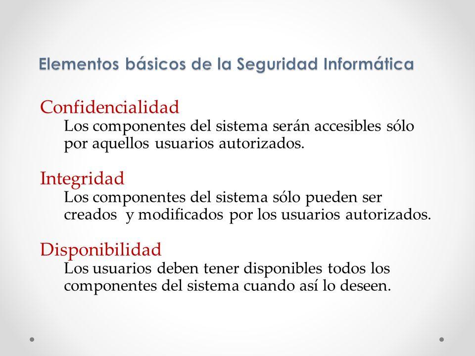 Confidencialidad Los componentes del sistema serán accesibles sólo por aquellos usuarios autorizados. Integridad Los componentes del sistema sólo pued