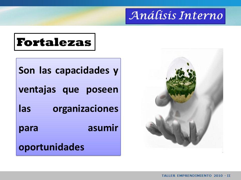 TALLER EMPRENDIMIENTO 2010 - II Análisis Interno Son las capacidades y ventajas que poseen las organizaciones para asumir oportunidades Fortalezas