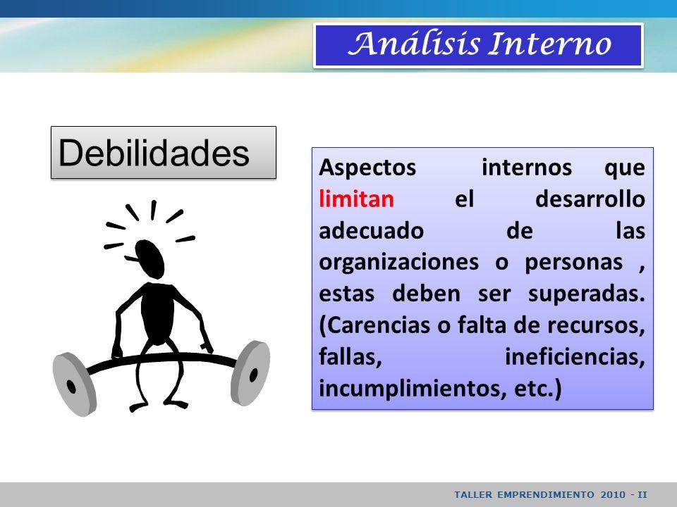 TALLER EMPRENDIMIENTO 2010 - II Análisis Interno Aspectos internos que limitan el desarrollo adecuado de las organizaciones o personas, estas deben ser superadas.