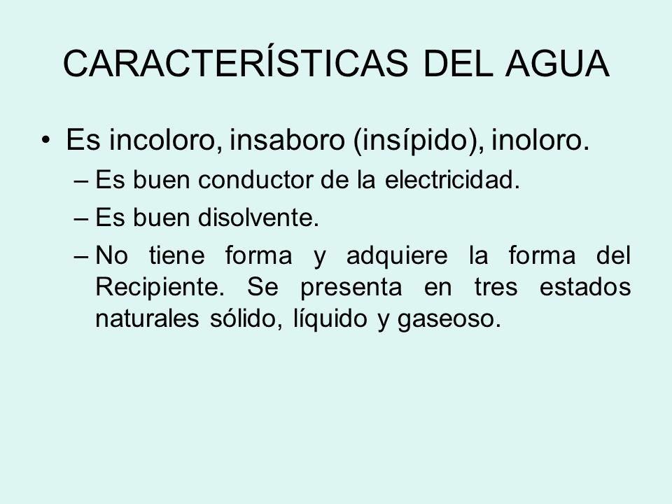 CARACTERÍSTICAS DEL AGUA Es incoloro, insaboro (insípido), inoloro.